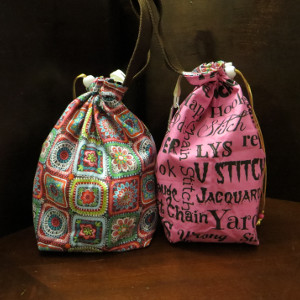 Pink Crochet Words Project Bag