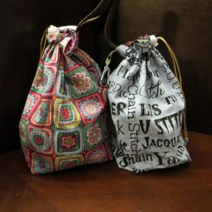 Blue Crochet Words Project Bag